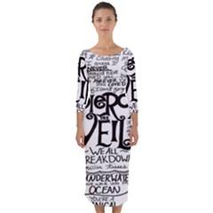 Pierce The Veil Quarter Sleeve Midi Bodycon Dress