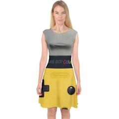Game Boy Color Yellow Capsleeve Midi Dress