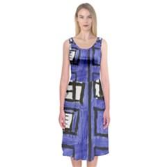Tardis Painting Midi Sleeveless Dress