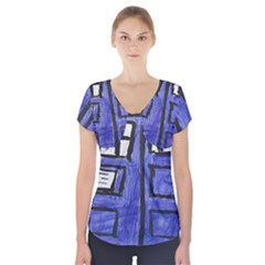 Tardis Painting Short Sleeve Front Detail Top
