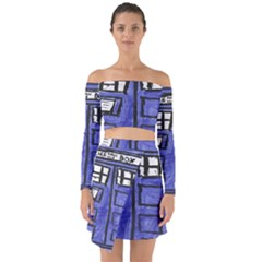 Tardis Painting Off Shoulder Top With Skirt Set