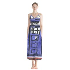 Tardis Painting Button Up Chiffon Maxi Dress
