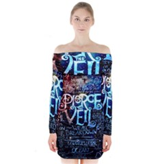 Pierce The Veil Quote Galaxy Nebula Long Sleeve Off Shoulder Dress by Samandel