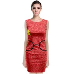 Glasses And Lightning Glitter Classic Sleeveless Midi Dress