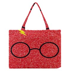 Glasses And Lightning Glitter Zipper Medium Tote Bag