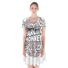 Artic Monkeys Flower Circle Short Sleeve V Neck Flare Dress
