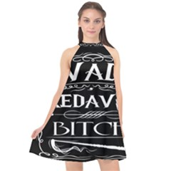 Avada Kedavra Bitch Halter Neckline Chiffon Dress