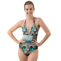 Cheshire Cat Halter Cut Out One Piece Swimsuit