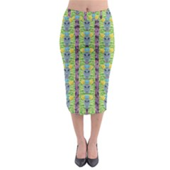 Decorative Summer Girls With Flower Hair Midi Pencil Skirt by pepitasart