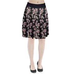 Pink Roses Print Pleated Skirt