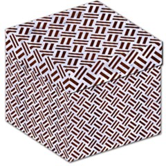 Woven2 White Marble & Reddish Brown Wood (r) Storage Stool 12   by trendistuff