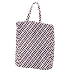 Woven2 White Marble & Reddish Brown Wood (r) Giant Grocery Zipper Tote