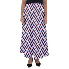 Woven2 White Marble & Reddish Brown Wood (r) Flared Maxi Skirt