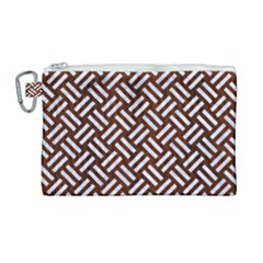 Woven2 White Marble & Reddish Brown Wood Canvas Cosmetic Bag (large) by trendistuff