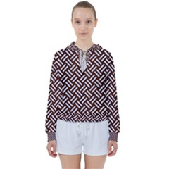 Woven2 White Marble & Reddish Brown Wood Women s Tie Up Sweat