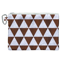 Triangle3 White Marble & Reddish Brown Wood Canvas Cosmetic Bag (xl) by trendistuff
