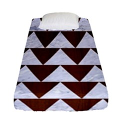 Triangle2 White Marble & Reddish Brown Wood Fitted Sheet (single Size) by trendistuff