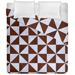 Triangle1 White Marble & Reddish Brown Wood Duvet Cover Double Side (california King Size) by trendistuff