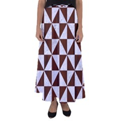 Triangle1 White Marble & Reddish Brown Wood Flared Maxi Skirt