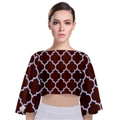 Tile1 White Marble & Reddish Brown Wood Tie Back Butterfly Sleeve Chiffon Top