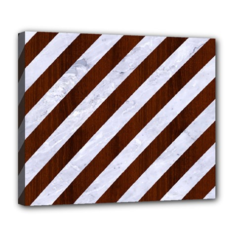 Stripes3 White Marble & Reddish Brown Wood (r) Deluxe Canvas 24  X 20   by trendistuff