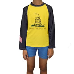 Gadsden Flag Don t Tread On Me Kids  Long Sleeve Swimwear by MAGA