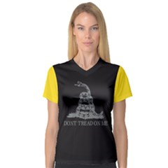 Gadsden Flag Don t Tread On Me V Neck Sport Mesh Tee by MAGA