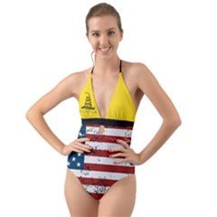 Gadsden Flag Don t Tread On Me Halter Cut Out One Piece Swimsuit by MAGA