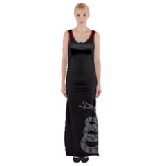 Gadsden Flag Don t Tread On Me Maxi Thigh Split Dress by MAGA