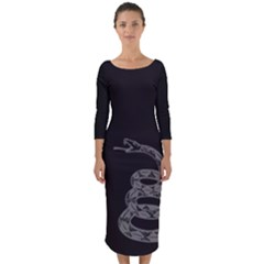 Gadsden Flag Don t Tread On Me Quarter Sleeve Midi Bodycon Dress by MAGA