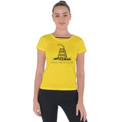 Gadsden Flag Don t Tread On Me Short Sleeve Sports Top  by MAGA