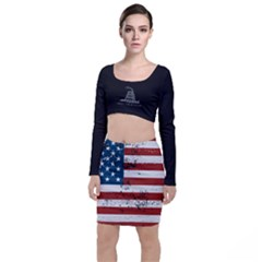 Gadsden Flag Don t Tread On Me Long Sleeve Crop Top & Bodycon Skirt Set by MAGA