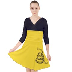 Gadsden Flag Don t Tread On Me Quarter Sleeve Front Wrap Dress by MAGA