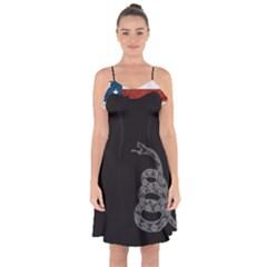 Gadsden Flag Don t Tread On Me Ruffle Detail Chiffon Dress by MAGA