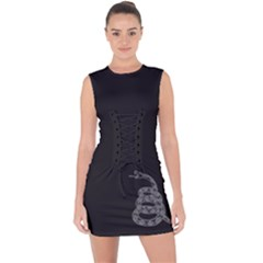 Gadsden Flag Don t Tread On Me Lace Up Front Bodycon Dress by MAGA
