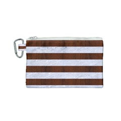 Stripes2white Marble & Reddish Brown Wood Canvas Cosmetic Bag (small) by trendistuff