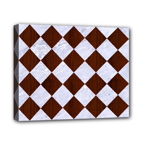Square2 White Marble & Reddish Brown Wood Canvas 10  X 8  by trendistuff