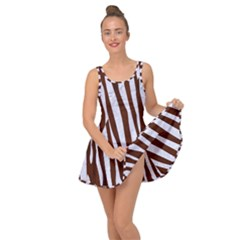 Skin4 White Marble & Reddish Brown Wood (r) Inside Out Dress