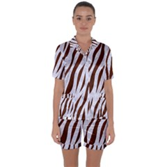 Skin3 White Marble & Reddish Brown Wood (r) Satin Short Sleeve Pyjamas Set