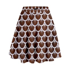 Scales3 White Marble & Reddish Brown Wood High Waist Skirt by trendistuff
