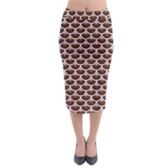 Scales3 White Marble & Reddish Brown Wood Midi Pencil Skirt by trendistuff