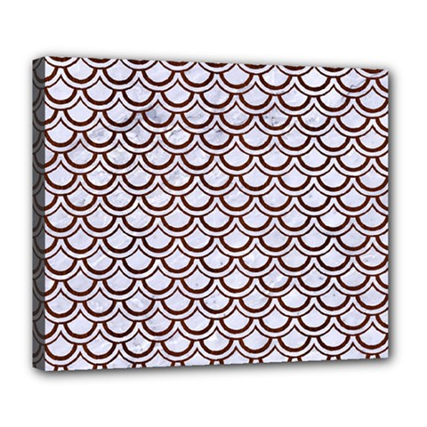 Scales2 White Marble & Reddish Brown Wood (r) Deluxe Canvas 24  X 20   by trendistuff