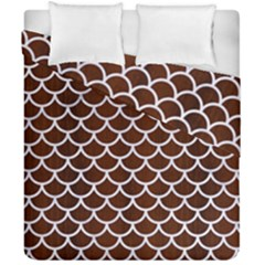 Scales1 White Marble & Reddish Brown Wood Duvet Cover Double Side (california King Size) by trendistuff