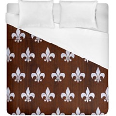 Royal1 White Marble & Reddish Brown Wood (r) Duvet Cover (king Size) by trendistuff