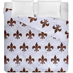 Royal1 White Marble & Reddish Brown Wood Duvet Cover Double Side (king Size) by trendistuff