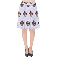 Royal1 White Marble & Reddish Brown Wood Velvet High Waist Skirt by trendistuff
