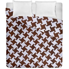 Houndstooth2 White Marble & Reddish Brown Wood Duvet Cover Double Side (california King Size) by trendistuff