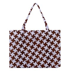 Houndstooth2 White Marble & Reddish Brown Wood Medium Tote Bag