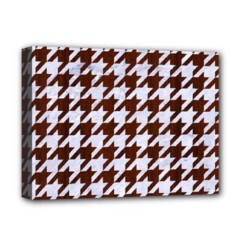 Houndstooth1 White Marble & Reddish Brown Wood Deluxe Canvas 16  X 12   by trendistuff