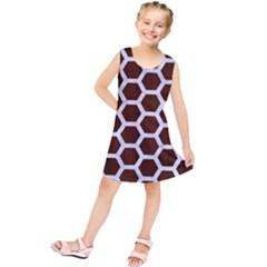 Hexagon2 White Marble & Reddish Brown Wood Kids  Tunic Dress
